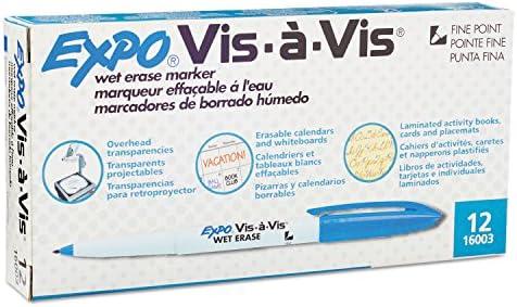 Expo vis-a-vis wet-erase marcador, punta fina, azul, docena ...