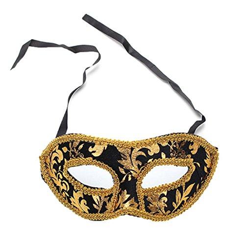 [Masquerade Mask Halloween Party Ball Half Face Eye Costume (Black)] (Mardi Gras Outfit Ideas)