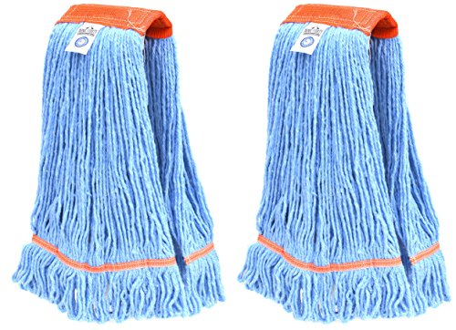 Nine Forty Industrial | Commercial Strength Premium Looped End Floor Cleaning Wet Mop Head Refill | Replacement – Heavy Duty 4 Ply Synthetic Yarn (2 Pack, Large)