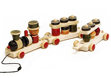 Buy Maya Organic Build & Play wooden pull toy - MY TRAIN Online at