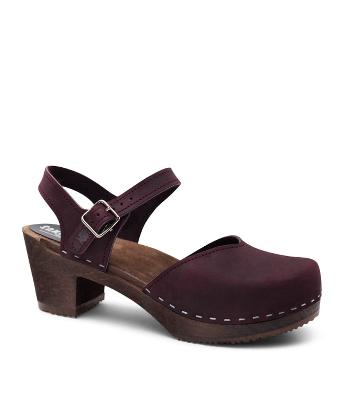 Swedish Wooden High Heel Clog Sandals for Women | Victoria in Plum by Sandgrens, size US 9 EU 39