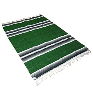 """54"""" X 80"""" Forest Green Mexican Yoga Blanket"""