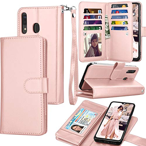 Galaxy A30 Case, Galaxy A30 / A20 Wallet Case, Luxury Cash Credit Card Slots Holder Carrying Folio Flip PU Leather Cover [Detachable Magnetic Hard Case] Kickstand Compatible Samsung A20/A30 -Rose Gold