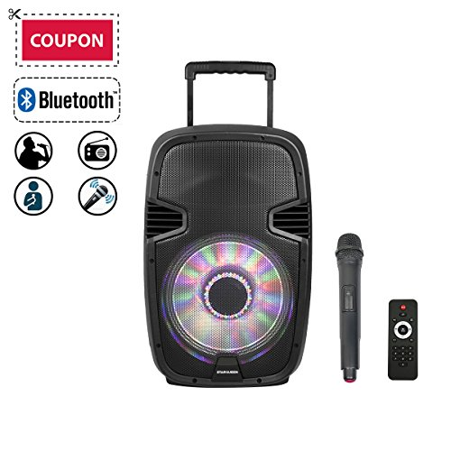 "STARQUEEN 12"" Bluetooth Portable Speaker with Wireless Microphone, Rechargeable PA Sound System with Remote/Wheels/DJ Light, Big Karaoke Party Amplifier System with AUX/FM Radio/SD/USB/Mixer/Stereo"
