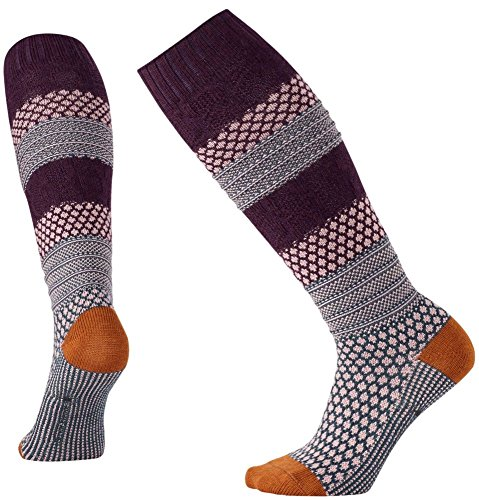 Smartwool Women's Popcorn Cable Knee High Socks (Bordeaux Gray) Large (Bordeaux Clothing)
