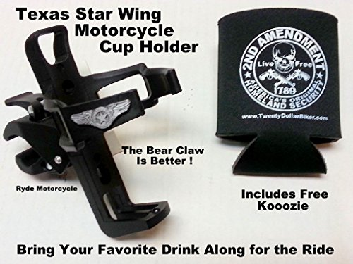 usa-seller-texas-star-logo-wing-motorcycle-handlebar-mount-cup-holder-easy-on-no-tools-needed-instal