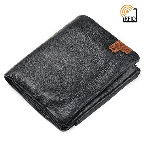 Big Bill Bi Fold Wallet (Vintage Brown Leather Trifold Wallet Men RFID-Blocking Black Zip Bifold Vertical Wallet By Encantado)