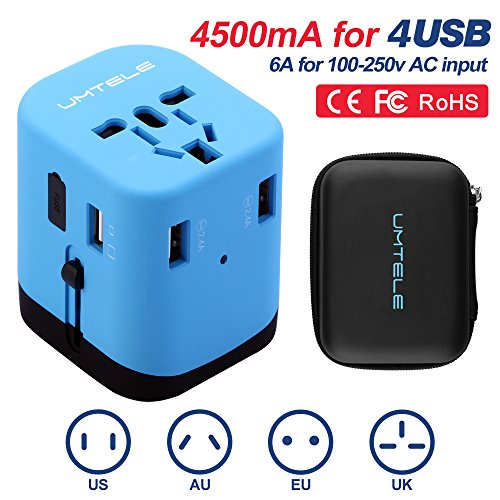 Travel Adapter, UMTELE Universal Charge All-in-One Wall Outlet Plug International AC Adapter with 4 USB Ports, Compatible With UK, US, EU, Asia and AU Standard, Blue