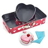 Cheesecake Pan Springform Pan Leakproof Cake Pan Bakeware Non-stick Rectangle 9 inch Round Heart Shaped 5 inch Set of 3 Pieces Valentine's Day Gift (Heart)