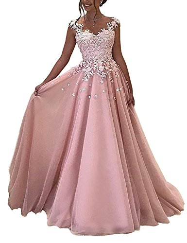 (2018 Lace Appliqued Evening Dress Plus Size V Neck Floor Length Prom Party Gown For Women Formal Empire Waist Beaded Mermaid Cocktail Robes Y068 Pink Size 26W)