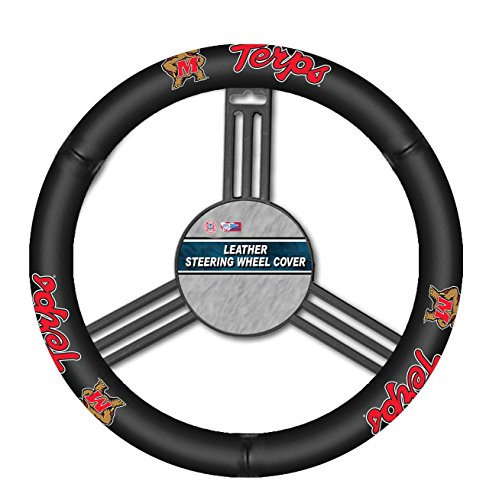 - NCAA Maryland Terrapins Leather Steering Wheel Cover, One Size, Black