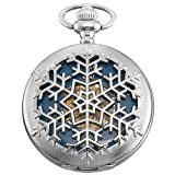 KS Skeleton Snow Flake Design Case Roman Numeral Markers Mechanical Pocket Watch KSP101