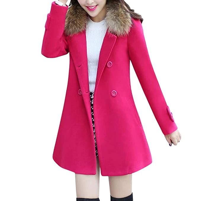 OHQ Chaqueta Abrigada Mujers Invierno Fur Collar Casual Outwear Parka Cardigan Negro Blanco Rojo Gris Azul Abrigo Delgado: Amazon.es: Ropa y accesorios