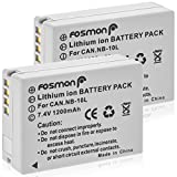 Fosmon [2-Pack] 1200 mAh 7.4V High Capacity NB-10L Replacement Li-ion Battery Pack Compatible with Canon PowerShot G1 X / G15 / G16 / SX40 HS / SX50 HS - Fosmon Retail Packaging