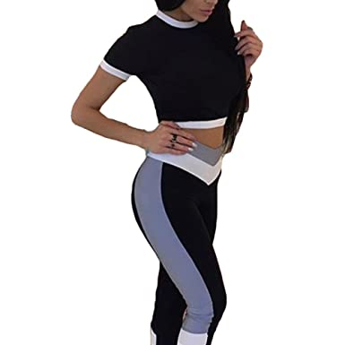 2 Pcs Femmes Yoga Gym Fitness Survêtement Vêtements Ensembles 51b9745d898