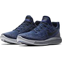 NIKE Mens Lunarepic Low Flyknit 2 Running Shoes (College Navy/Cool Grey, 9.5)