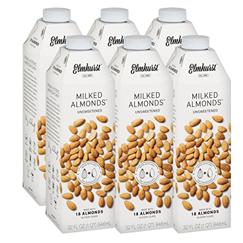 Elmhurst Milked - Unsweetened Almond Milk - 32 Fluid Ounces (Pack of 6) Only 2 Ingredients, 4X the Protein, Non Dairy, Keto Friendly, No Added Sugar, Vegan by Elmhurst