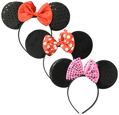 Disney Big Girls Minnie Mouse Headband With Satin Bow 3 Piece Set, Multi, Age (Polka Dots Satin Headband)