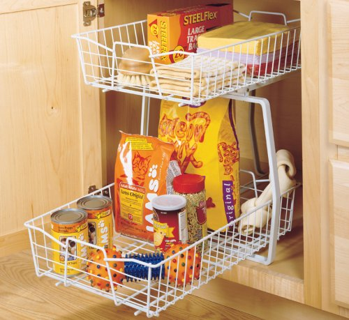 amazoncom closetmaid 3609 2 tier 14 inch kitchen cabinet organizer white home kitchen - Cabinet Organizers Kitchen
