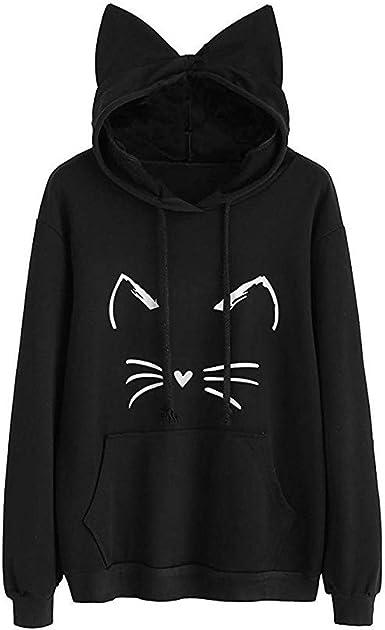 Sudaderas Para Mujer Returommujer Sudadera Tumblr Larga Con Capucha Gato Oreja 1 M A Cat Sudaderas Para Adolescentes Chicas Camiseta De Manga Larga Blusa Camisa Pullovers Amazon Es Ropa Y Accesorios