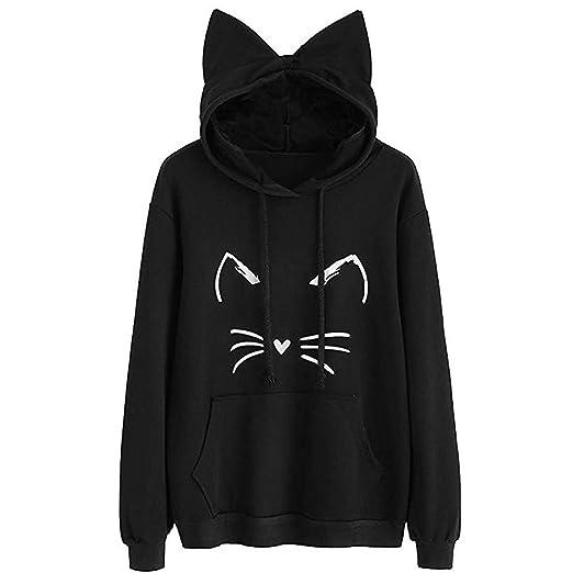 3aa23db84bc Amazon.com: Bravetoshop Women Kawaii Cat Print Hoodie Ears Long Sleeve  Cotton Sweatshirt Pocket Pullover Cosplay: Clothing