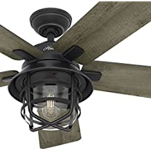 "Hunter Fan 54"" Weathered Zinc Outdoor Ceiling Fan with a Clear Glass LED Light Kit and Remote Control, 5 Blade (Certified Refurbished)"