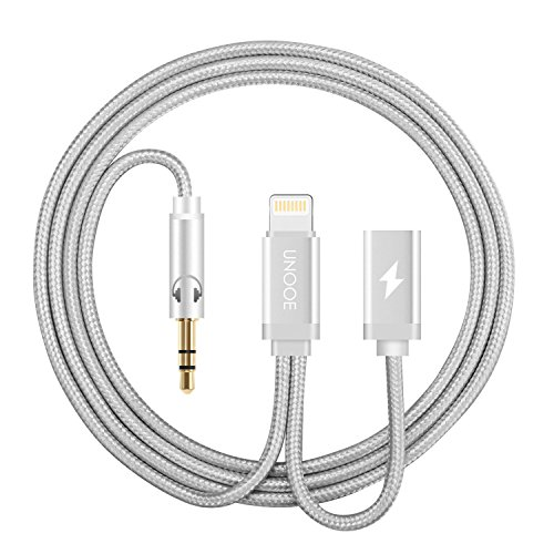 iPhone 7 Aux Adapter,UNOOE Lightning to 3.5mm Headphone Jack Cable with Lightning Female Charger Cord Port for iPhone 7 / 7 Plus Charging and Listening in Car-Silver