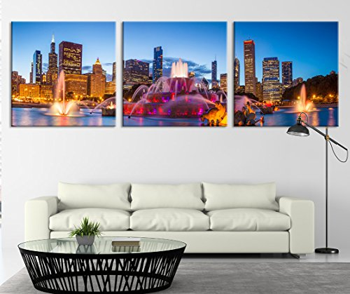 City Wall Art - Large Canvas Print - Chicago Wall Canvas - Chicago City