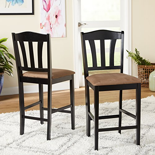 Target Marketing Systems Lucca Collection Contemporary Style High Top Barstool, Set of 2, Black, 24