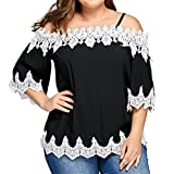 FEITONG Large Size Women Lace Off Shoulder T-Shirt Half Sleeve Casual Tops Blouse(Small,Black)