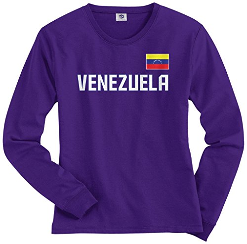 Threadrock Women's Venezuela National Pride Long Sleeve T-shirt XL Purple (Womens Long Pride Sleeve)
