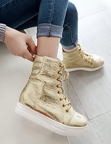 Aisun Womens Casual Comfort Round Toe Thick Sole Lace Up Booties Platform Flat Ankle Sneaker Boots Gold Owzzu