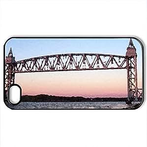 Cape Cod Railroad Bridge - Case Cover for iPhone 4 and 4s (Bridges Series, Watercolor style, Black)