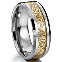 MOWOM Silver Gold Two Tone Tungsten Ring Band Irish Celtic Knot Dragon Comfort Fit Wedding