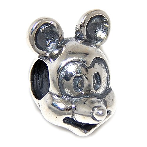 Pro Jewelry 925 Solid Sterling Silver Cartoon Mouse Face Charm Bead (Pluto Mickey Christmas And Cartoon)