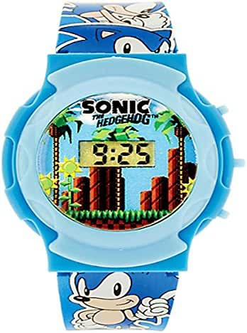 Sonic the Hedgehog Watch Boys LCD Watch with Adjustable Wristband Printed with Sonic Logos and Themed Motifs!