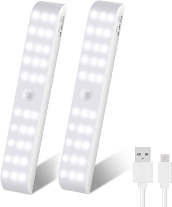 OUTAD Luz Armario, Luces para Armarios con Sensor de Movimiento, USB Recargable Luz Nocturna con 3 Modos para Armario, Cocina, Escalera, Pasillo, Baño, Dormitorio, 2 Pack: Amazon.es: Iluminación