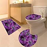 Skull Bathroom Toilet mat Set Horror Movie Thirller Themed Flying Skull Heads Halloween in Outer Space Image 3 Piece Toilet lid Cover mat Set Black and Purple