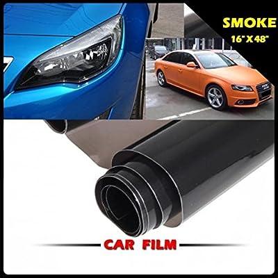 "16"" X 48"" Dark Smoked Tail Lights Film Overlay Cover Smoke Tint Sheet Blackout"