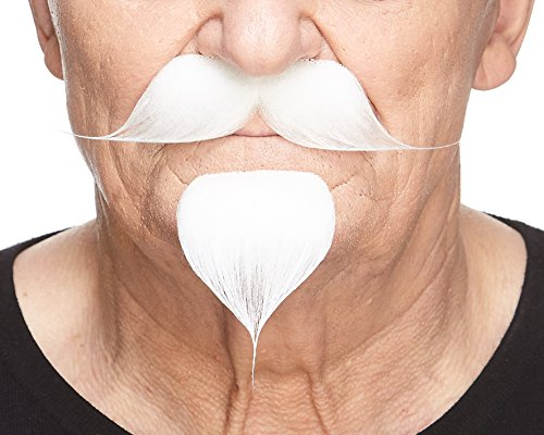 Mustaches Self Adhesive, Novelty Colonel Sanders Fake Mustache Handlebar with a Goatee, White -