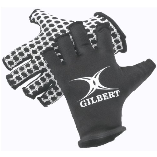 Gilbert International Rugby Gloves (Black, Large)