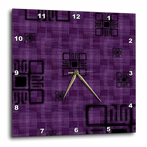 3dRose Purple Squares - Wall Clock, 15 by 15-Inch (dpp_16...
