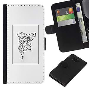 KingStore / Leather Etui en cuir / Samsung ALPHA G850 / Mariposa mítico cartel blanco del arte;