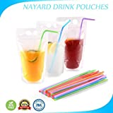 Cheap Drink Pouch Bags with Straws 100 Pcs Smoothie Pouches Reusable Plastic Drink Bags -Zipper W/Gusset Bottom Stand-up Drinking Pouches-Non-Toxic,BPA Free Drink Container By NAYARD