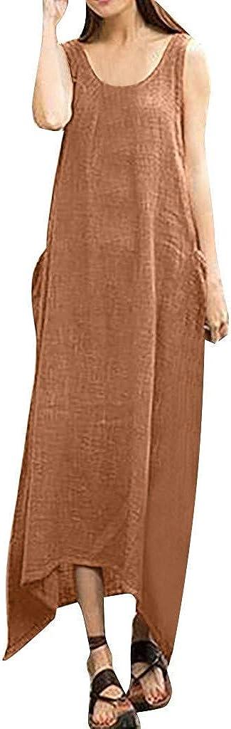 VEMOW Faldas Mujer Vestido Blusas Tops Lino de algodón sin Mangas ...