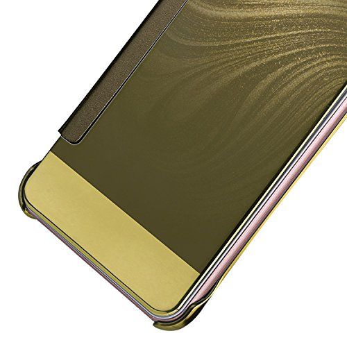 Huawei P10 Inteligente Funda, Vandot Completo Clear View Standing Cover Flip Funda Carcasa con Función Kickstand [Soporte Sleep/Wake UP] Ultra Delgado Slim Translúcido Tapa Espejo Smart Cover para Hua Flip Oro