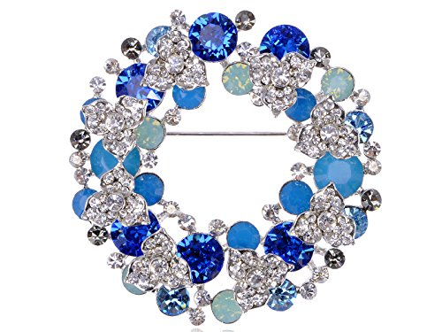 Alilang Pacific Sapphire Color Christmas Floral Wreath Gift Swarovski Cystal Rhinestone Pin Brooch