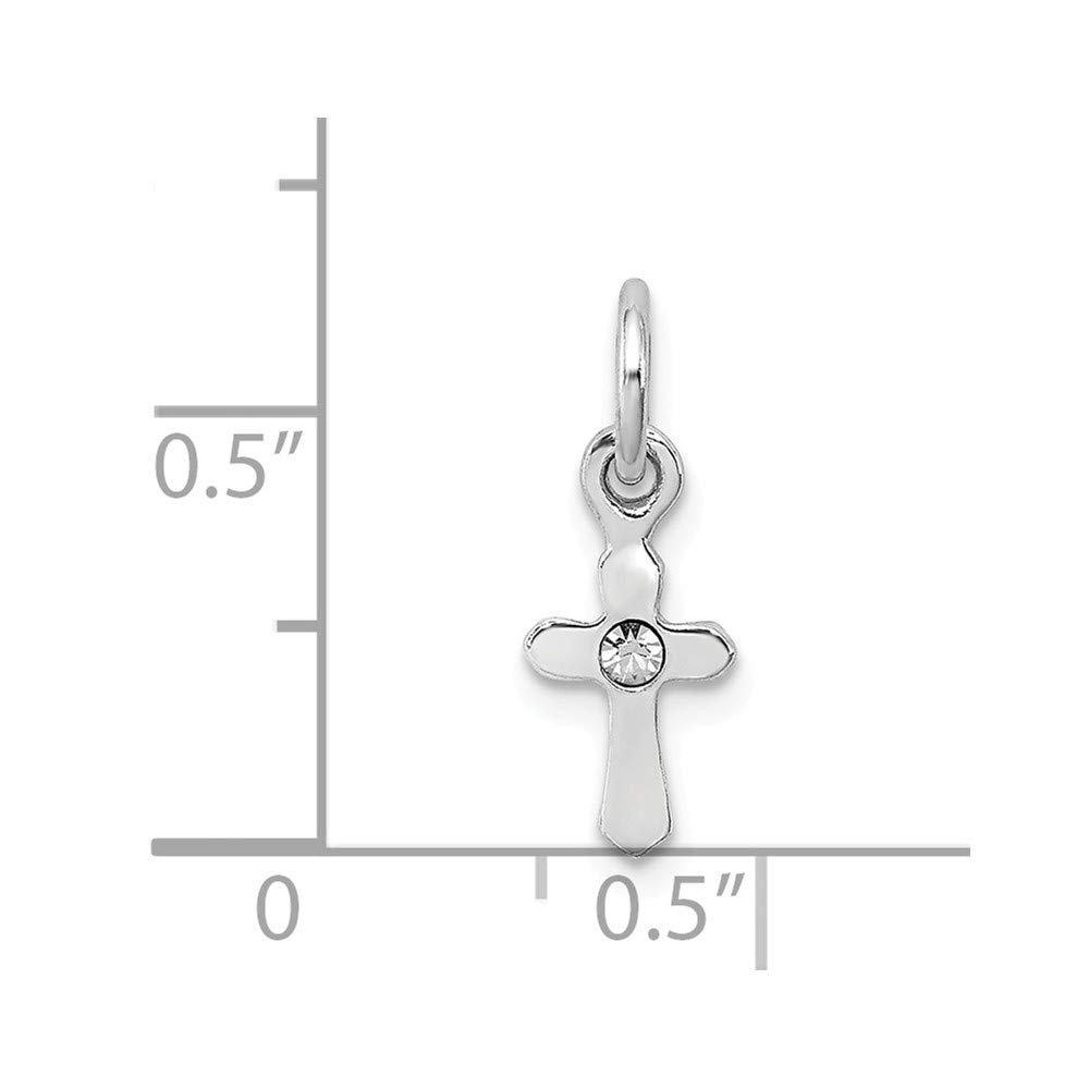 925 Sterling Silver Rhodium Plated Childs Preciosca Crystal Apr Cross Shaped Pendant