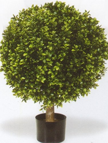 One 32 Inch Outdoor Artificial Boxwood Ball Topiary Bush Potted Uv Plant by Silk Tree Warehouse