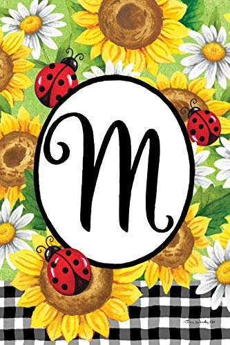 Custom Decor Sunflower Ladybugs - Letter M - Embroidered Monogram - Decorative Double Sided Flag - Garden Size, 12 Inch X 18 Inch, Licensed, Copyright & Trademark CDI. USA